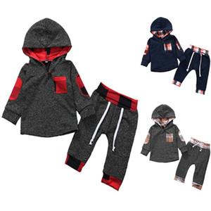 Velvet Plaid Pullover + pants 2-teiliges Set für Kinder Jungenkleidung 2019 Kleinkind Kostüm Kinder Outfits Babykleidung Jogginganzug 0-3Y