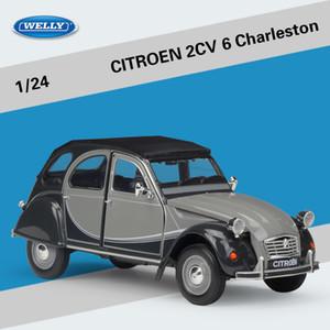 WELLY Diecast модель автомобиля игрушка, Citroen 2CV 6 Чарльстон ретро старинный автомобиль, 1: 24, орнамент, для подарка на День рождения малыша партии, собирая, украшение