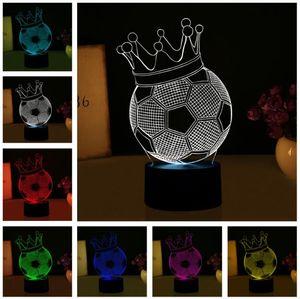 3D 마법의 제국 크라운 풋볼 환상 LED 야간 조명 참신 분위기 비주얼 분위기 파티 램프 크리 에이 티브 선물 키즈 남자 Sportman