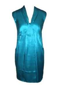 Diseño simple suavemente puro de cambio sin mangas con cuello en V de satén de seda de color verde Partido vestido corto