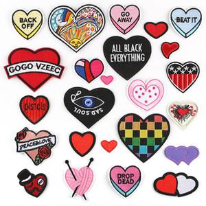Red Heart Love Parches Bordados Para Ropa Corazón Negro Ojo Coser Hierro En Parche Tela Apliques DIY Badge Pegatinas 24 unids Por lote