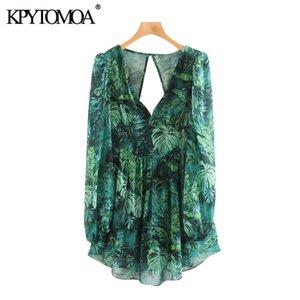 KPYTOMOA Women 2020 Chic Fashion Floral Print Pleated Mini Dress Vintage See Through Sleeve Backless Zipper Female Dresses Mujer
