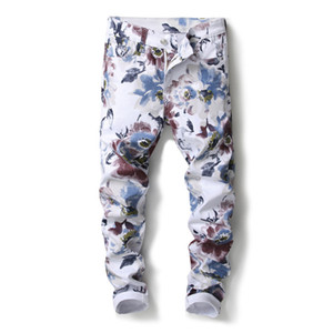 European American Art Männer lässig Jeans-Hosen Luxus Print weiß Gerade beiläufige Reißverschluss-Bleistift-Hosen Jeans für Männer