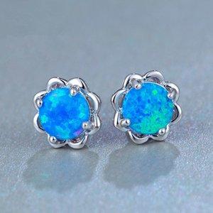 Alliage Fleur forme Boucles d'oreilles Bleu / Blanc Opale Mini fleur Boucles d'oreilles disque petit point Petite Ronde 6 mm / 8 mm Minimaliste Bijoux pour les femmes
