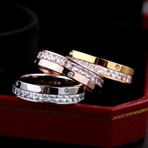 Wholesale New Stone Fashion Three Colors Rings Charming 18K Rose Gold Ring Simple Band Rings Women Men Party Engagement Ring for Gifts
