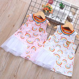 Hot Summer Babies Love Rainbow Gonne Dress Printing Girocollo Abiti outdoor Ragazze Cartoon Fashion Home Abbigliamento 38dh E1
