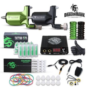 Dragonhawk Rotary Tattoo Kit 2 Rotary Tattoo Machines Mini LCD Power Supply Needles Tips Tattoo Set