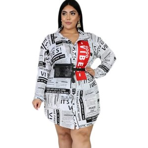 XC6080 enlarged women's shirt dress newspaper printed loose flounder dressOTAS