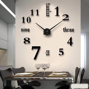 Новая 3d DIY зеркало настенные часы современный дизайн гостиной декоративные римские цифры Зеркало Гостиная Домашний интерьер Deco Часы настенные