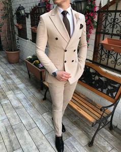 2020 New Beige Herrenanzug Bräutigam Outfits 2 Stück zweireihiger Kerbe Revers Flach Slim Fit Beiläufiges Smoking für Hochzeit (Blazer + Hosen)