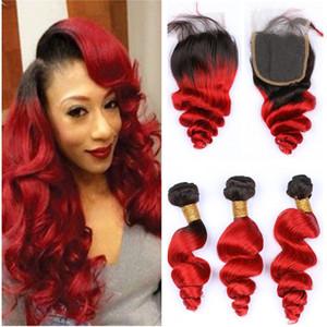 Черный красный ломбер Свободная волна 3Bundles с верхним закрытием 4шт много темный корень бразильские девственные человеческие волосы #1B / Красный ломбер ткать расширения
