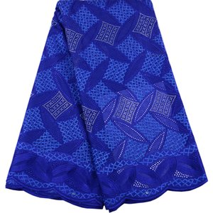 2019 Blue High Quailty Cotton French Laces Fabrics Nigerian Laces Fabrics With Fashion African Lace Fabrics Wedding Dress A1524