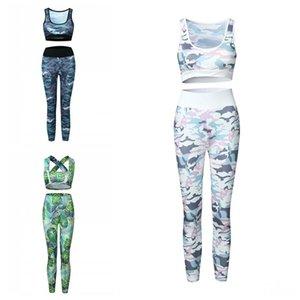 Sonbahar Lady Egzersiz Eşofman Takımı Kamuflaj Racerback Bras tankları Baskı Tayt Pantolon Spor Kadın Spor Kıyafetler Giyim 30oy E19 Tops