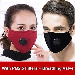 Máscaras reutilizáveis rosto negro com respirador carbono Fliter Preenchimento Anti Poeira ajustável reutilizáveis de proteção 2 PM2.5 Filtros Boca Máscara FY0016