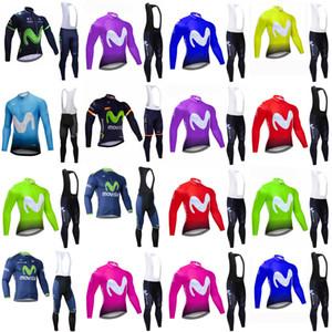 하고 Movistar 팀 사이클링 긴 Sleevess 유니폼 (턱받이) 남성 긴 소매는 로파 Ciclismo 아저씨 가을 MTB 자전거 사이클링 의류 B617-5 설정