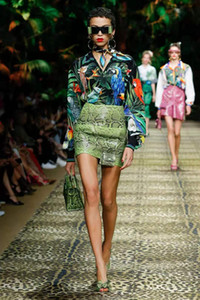 stampata skirt + cuoio tutto-intorno al 2020 da vita alta nuova giungla primavera e l'estate del pannello esterno vestito a due pezzi