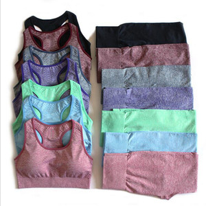 Ropa de Entrenamiento 2 piezas para Mujeres acolchado sujetador de los deportes gimnasia polainas ropa de la aptitud deportiva pantalones deportivos Yoga Set Trajes