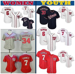 Washington Nationals personalizada para mujer Kid juventud Jersey Max Scherzer Anthony Rendon Juan Soto Trea Turner Ryan Zimmerman de béisbol jerseys