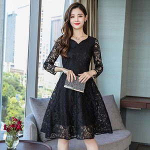 Large size Korean lace dress Long skirt