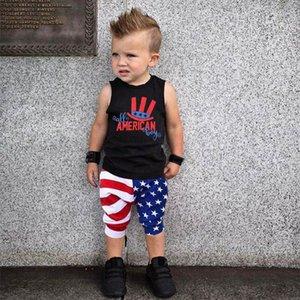 Малыша мальчики-младенцы лето одежда 4-го-из-июля звезд полосками Отечественной t рубашка брюки комплект костюмы для мальчиков одежда ансамбль Гарсон @35