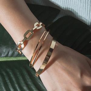 Ins Fashion Design braccialetti del polsino braccialetti aperti Set per regalo di giorno Jewelry delle ragazze delle donne stile semplice bracciale Set Vintage partito / 3PCS di San Valentino