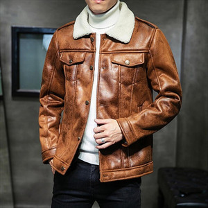 Warm Harajuku Thick Einzigartige Designer Mens Suede Jacken-Mantel mit Pelzbesatz Winter-Motorrad-Lederjacke Men Plus Size 5XL