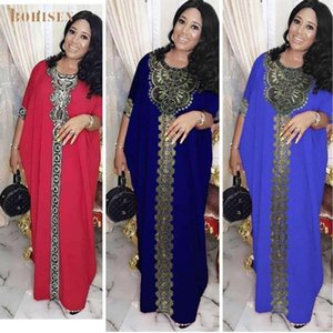 BOHISEN Dashiki African Clothes For Women Bazin Party Ladies Dress Long Sleeve Sexy V-Neck African Print Dresses For Women Skirt