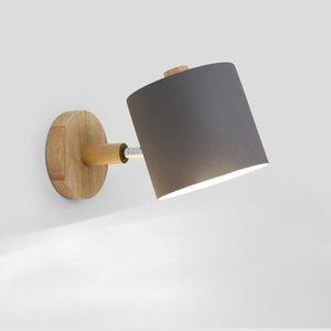 Simples Quarto de madeira sólida Lâmpada de parede Scandinavian criativa Macaron cor da parede A Lâmpada Corredor Tubo Reto