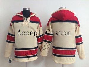 2019 2020 Настроенные хоккейные толстовки длинный рукав Открытый Wear Мужчины Хоккей Выборочная Hoodie Куртки Бежевый Красный