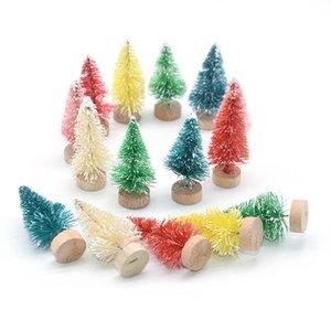 5Pcs New Mini Christmas Tree Sisal Silk Cedar Decoration Gold Red Blue Green Home Desktop Decoration Christmas Supplies