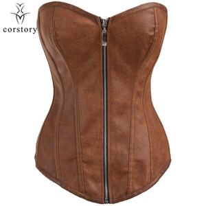 Corstory Sexy Brun Faux Cuir Korsett Steampunk Zipper Plus La Taille Bustier Pour Les Femmes Steampunk Ball Gothique Corselet Vêtements XL