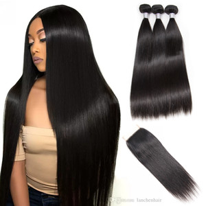 Straight Hair Bundles With Lace Closure Brazilian Virgin Hair Weave 3Bundles With Closure 100% Remy Human Hair Factory wholesale
