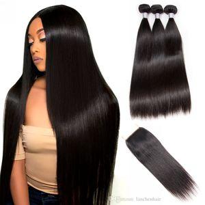 Paquetes de pelo rectos con cierre de encaje Weave Hair Weave Weaver 3bundles con cierre 100% remy Hair Hair Factory Wholesale
