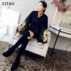 [XITAO] улучшение Hanfu мода новых женщин V-образным вырезом полный рукав повязки вышивка мультфильм Pattern повседневная куртка DLL1645