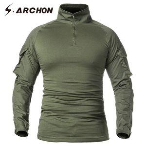 S.ARCHON Tactical с длинным рукавом Футболка Мужчины Спецназ солдат Combat Uniform рубашки Фитнес дышащий Пейнтбол армии T-Shirt