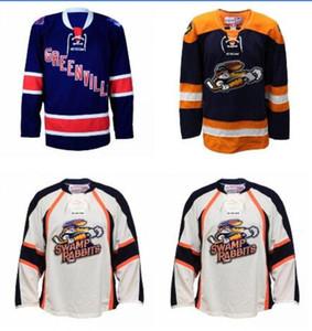 Benutzerdefinierte Männer Jugend Frauen Weinlese anpassen ECHL 2016-17 benutzerdefinierte Greenville Swamp Kaninchen Hockey-Jersey-Größe S-5XL oder benutzerdefinierten beliebigen Namen oder Nummer