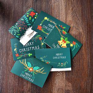 Verde Feliz Navidad Tarjeta de felicitación de la invitación del partido de Navidad Tarjeta de regalo de bendición Tarjeta de Navidad Tarjetas de felicitación de Año Nuevo Postal DBC VT1215