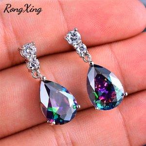 Cheap Drop Earrings RongXing Silver Color Water Drop Earings for Women Mystic Fire Rainbow Birthstone Multicolor Zircon Dangle Earring