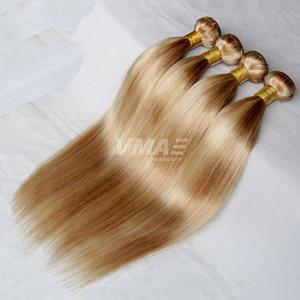Hetero Virgin Cabelo Humano 3 Pacotes Mix Lot cor de mel Blond 27 # Bleach Loira 613 # Tece cabelo humano europeus europeus Estilo Moda