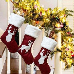 Elk gran regalo de Navidad Medias Bolsas del árbol de Navidad Adornos de Santa Elk Calcetines Chimenea colgar decoraciones de Navidad colgante de Inicio JK1910