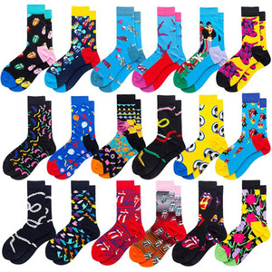Colore Crew Cotone Happy Socks Uomini Donne Stile britannico casuale Harajuku Designer Brand Fashion Art novità per coppia divertimento