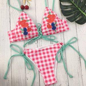 Sexy Pink Plaid вышивки Цветочные купальнике 2018. Женщины Push Up проложенный бюстгальтер бинты бикини Установить Купальники Купальники е