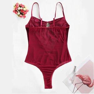 Flower Embroidered Velvet Mesh Insert Teddy lingerie Women Sexy underwear Sleeveless Solid Babydoll Sleepwear Bodysuits
