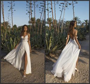 2019 Nueva Sexy Asaf Dadush Una línea Vestidos de novia Vestidos de novia de encaje de espagueti Sin espalda Vestido de novia País Vestidos de novia