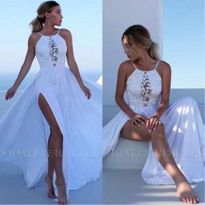 2020 Sexy Summer Beach Boho Brautkleider eine Linie Halter-Ansatz-Spitze-Chiffon- hohe Split Bohemain Brautkleider Robe de mariee BC2697
