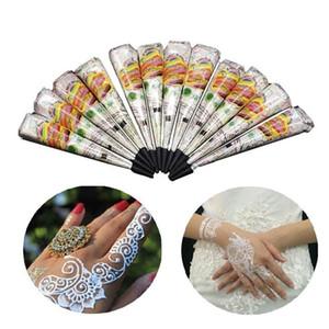 Frauen Mehndi Finger Körpercreme Farbe DIY Temporary Zeichnung für Tattoo-Schablone 1 PC weißen Farbe indische Henna-Paste-Kegel-Schönheit
