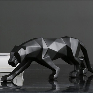 Panther Statue Animal Figurine Large Size Abstract Geometric Style Resin Leopard Sculpture Home Office Decoration Gift T200624