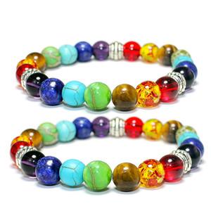 18 스타일 7 Chakra 매력 팔찌 여성을위한 여성용 블랙 레이바 치유 균형 타이거 아이 비즈 Reiki Buddha Prayer Natural Stone Yoga Jewelry