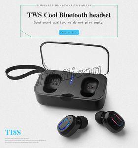 T18S TWS Sport invisible avec commande tactile écouteurs sans fil Bluetooth V5.0 de charge Box pour iPhone X Samsung S10 Huawei