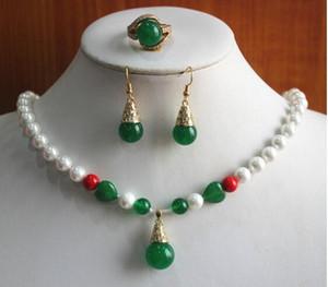 Jewelryr Perlen Set-Party! Großhandelsfrauen 8mm weiße Perle und grüne Naturstein Halskette Ohrring Ring (7/8/9) Schmuck-Set # Freies Verschiffen